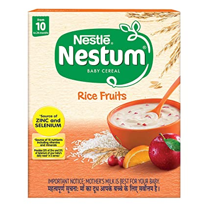 Nestle Nestum Fortified Baby Cereal - Rice Fruits, From 10 to 24