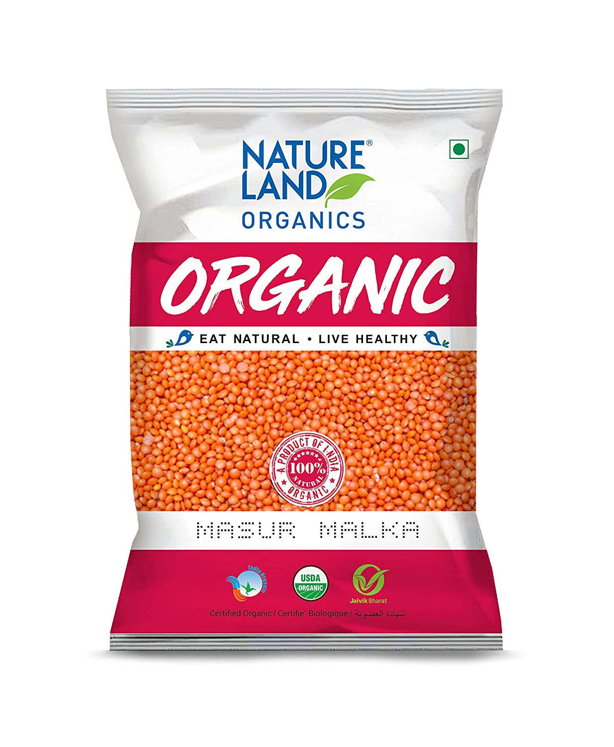 Nature Land Organics Malka Masoor 500 gm