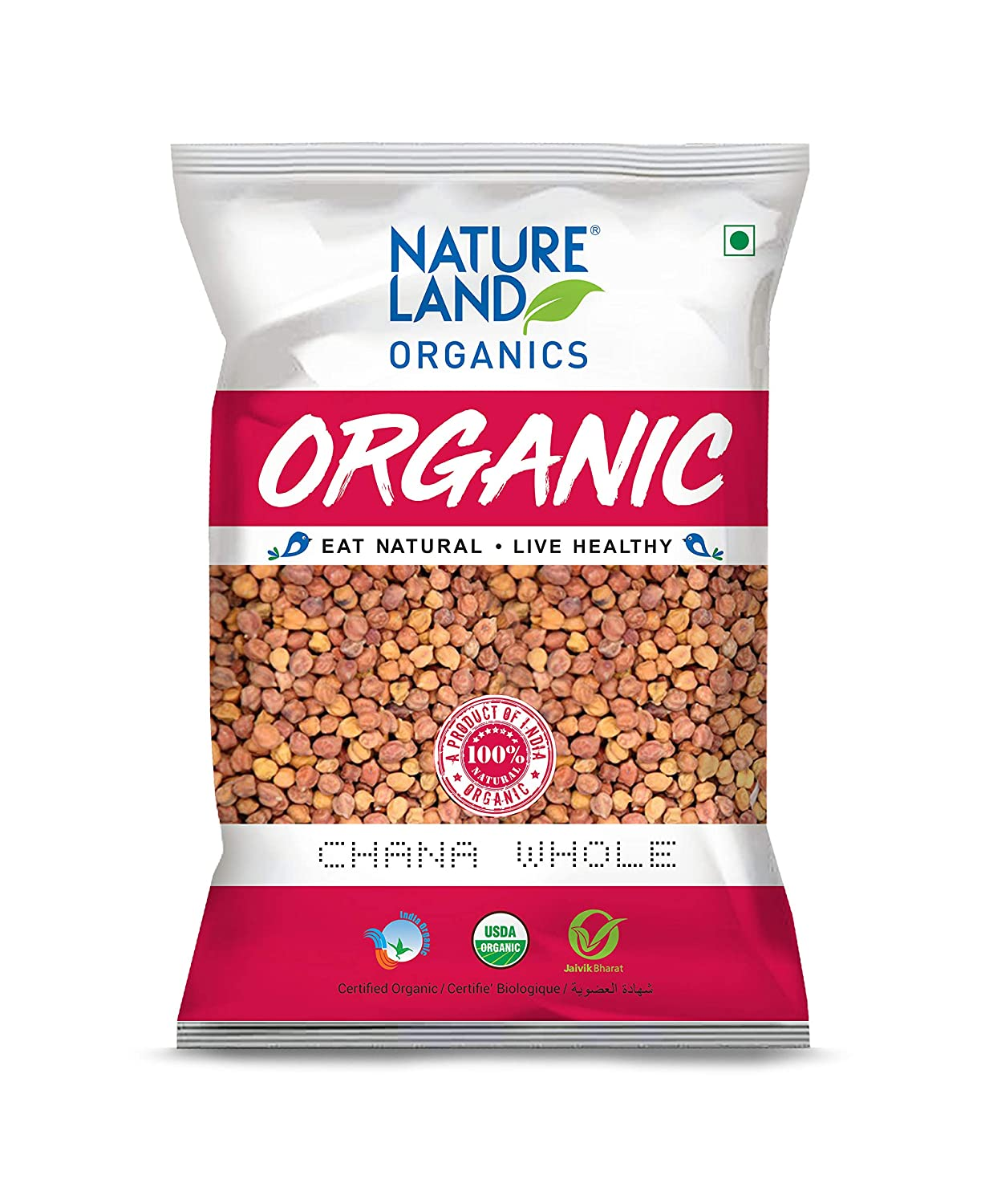 Nature Land Organics Chana Whole 500 gm
