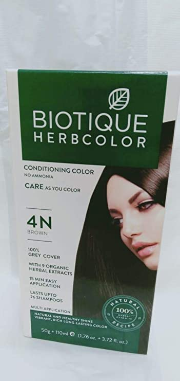 Biotique Bio Herbcolor 4N Brown, 50 g + 110 ml