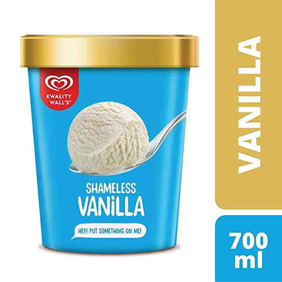 Kwality Walls Shameless Vanilla Tub, 700 ml